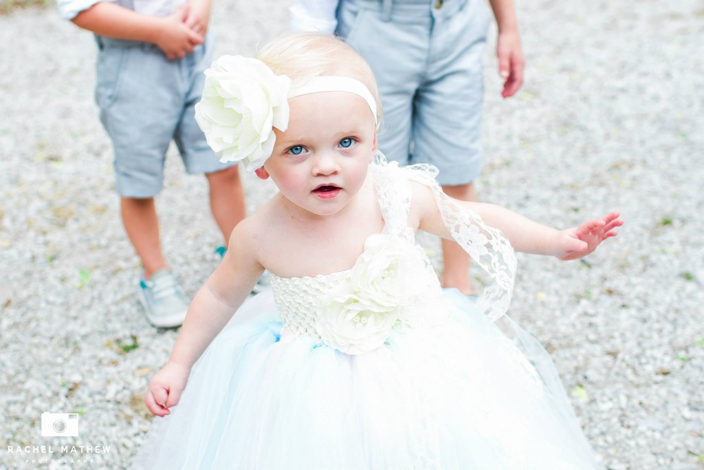 Flower girl mint and blue dress