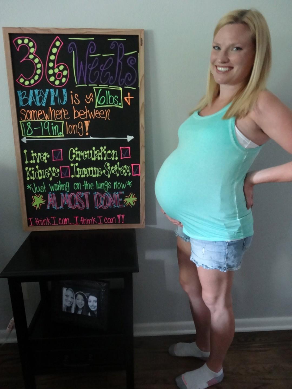 Baby Bump 36 Weeks Chalkboard Sign
