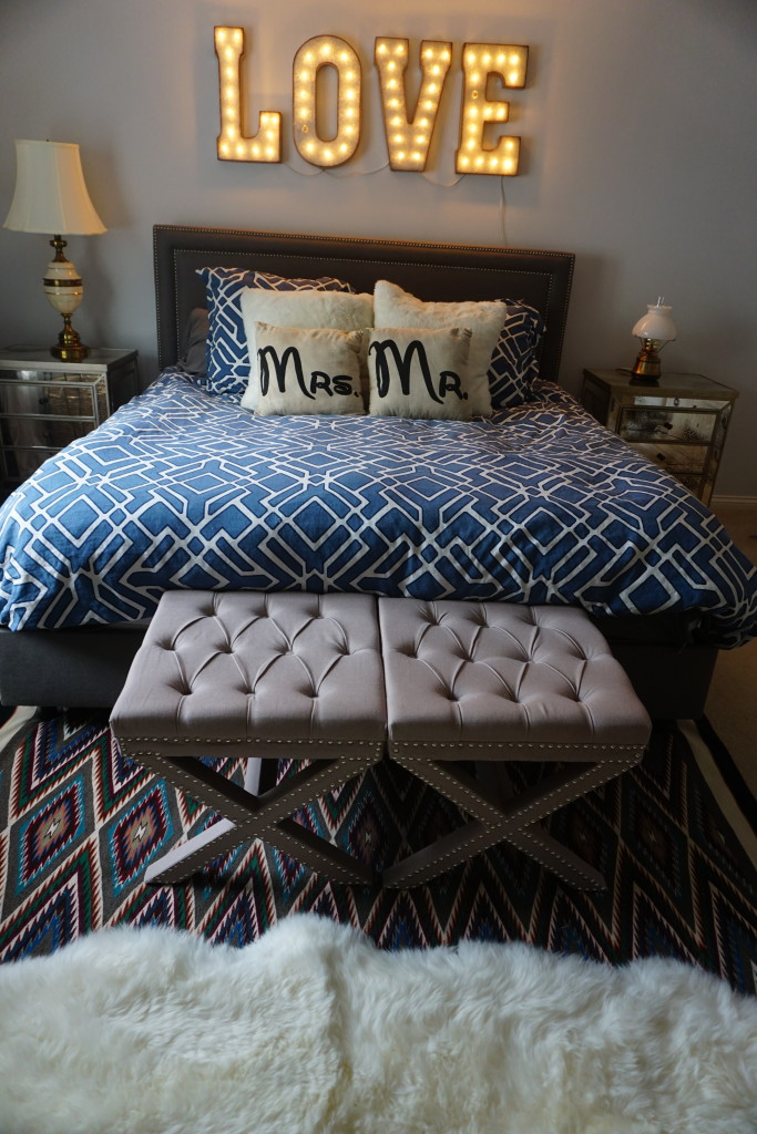 grey and blue master bedroom