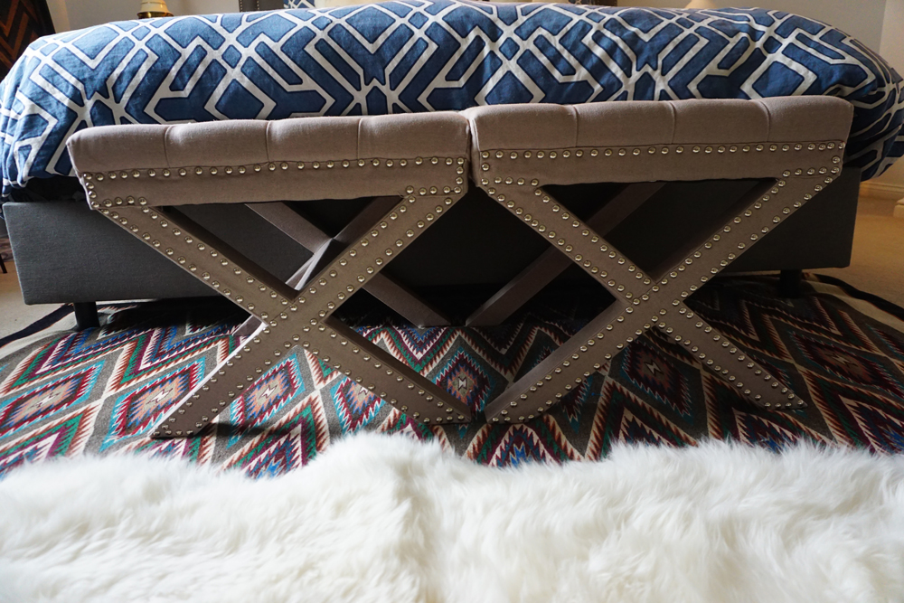 Studded Bench in front of bed
