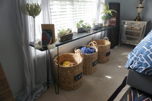 Side Table with laundry baskets