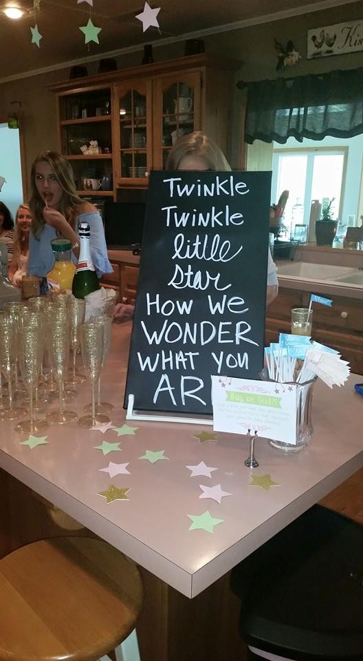 Twinkle Twinkle Little Star How We Want You Are boy or girl drink sign