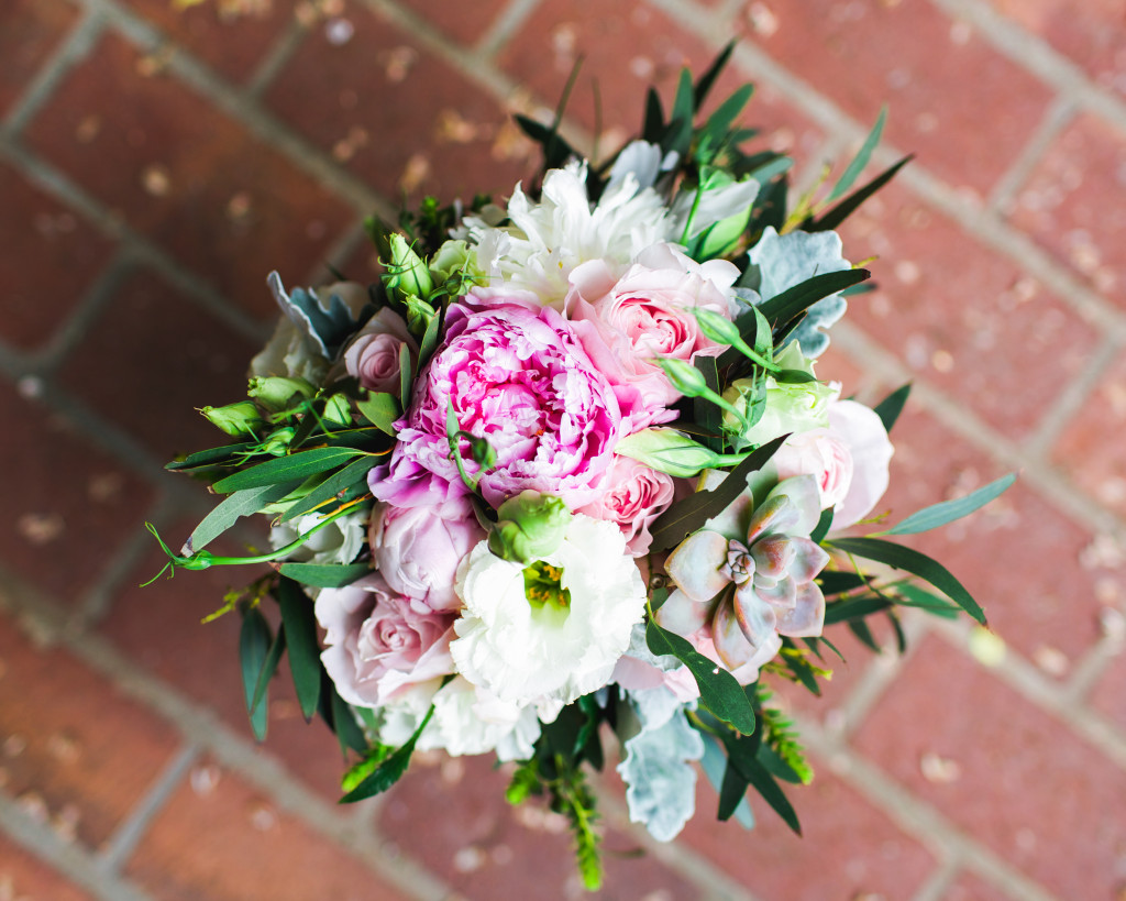 Peonies succulent and eucalyptus wedding boquet