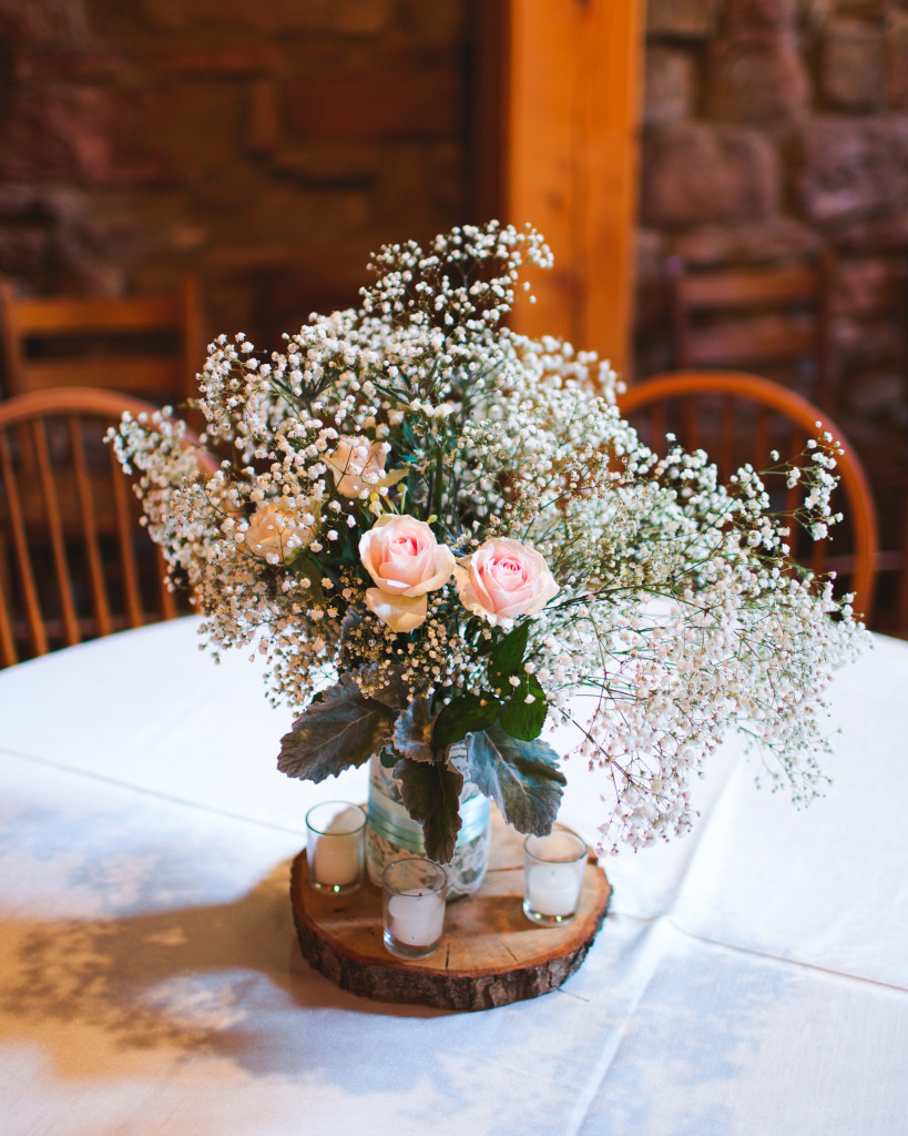 Babys breath and pink roses wedding centerpiece