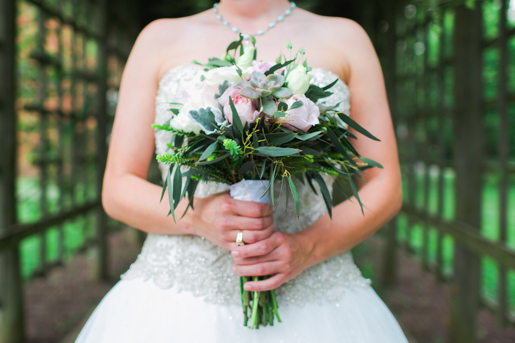 Peonies succulent and eucalyptus wedding bouquet