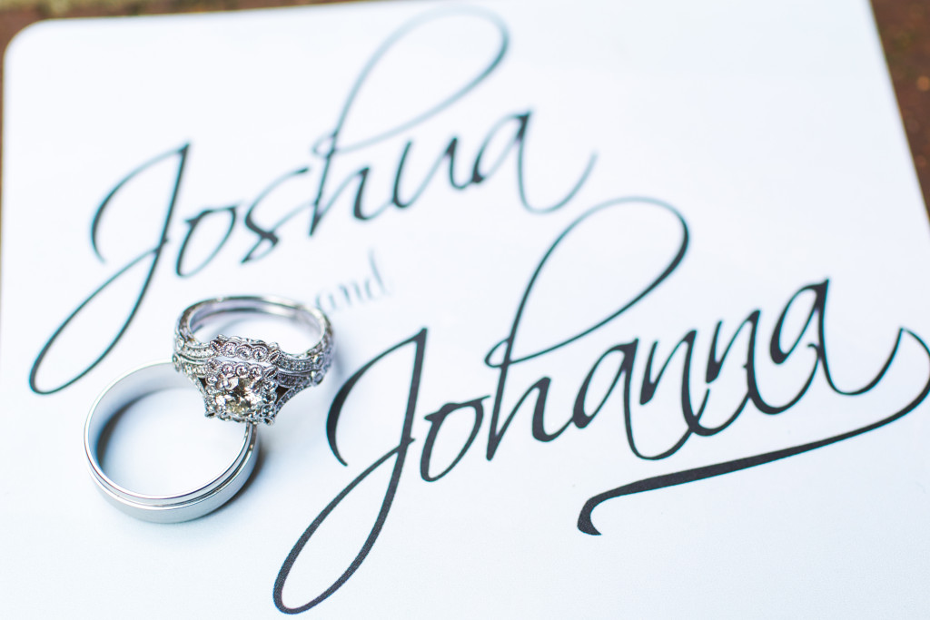 Wedding rings on wedding invitations
