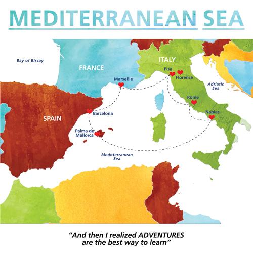 Mediterranean Sea Travel Map