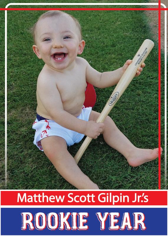 1st Birthday Baseball Themed Invitation