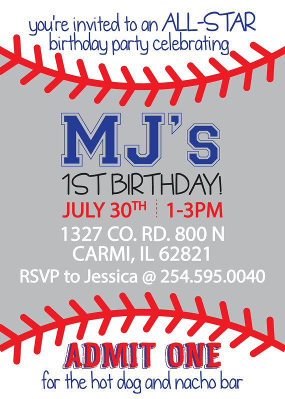 1st Birthday Baseball Themed Invitation